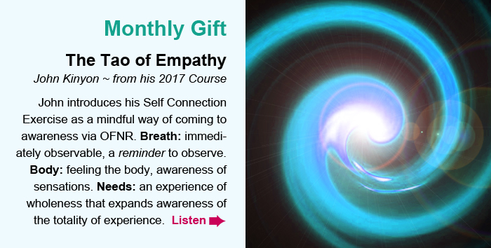 Monthly Gift. The Tao of Empathy. John Kinyon ~ from his 2017 Course. John introduces his Self Connection Exercise as a mindful way of coming to awareness via OFNR. Breath: immediately observable, a reminder to observe. Body: feeling the body, awareness of sensations. Needs: an experience of wholeness that expands awareness of the totality of experience. Listen.