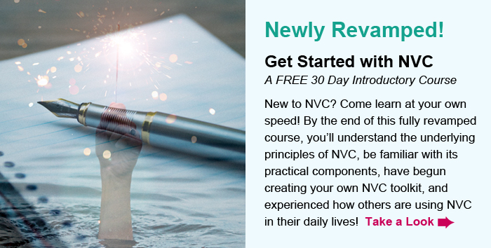 Newly Revamped! Get Started with NVC, A FREE 30 Day Introductory Course. New to NVC? Come learn at your own speed! By the end of this fully revamped course, you'll understand the underlying principles of NVC, be familiar with its practical components, have begun creating your own NVC toolkit, and experienced how others are using NVC in their daily lives!  Take a Look