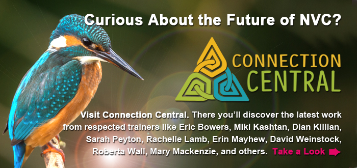 Curious About the Future of NVC? Visit Connection Central. There you'll discover the latest work from respected trainers like Eric Bowers, Miki Kashtan, Dian Killian, Sarah Peyton, Rachelle Lamb, Erin Mayhew, David Weinstock, Roberta Wall, Mary Mackenzie, and others. Take a Look.