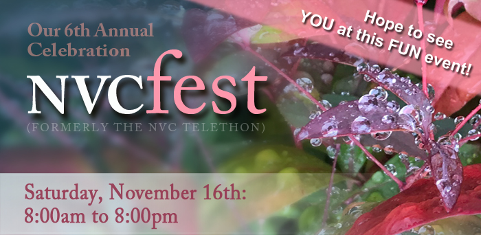 Our 6th Annual Celebration: NVCfest, (formerly the NVC Telethon). Hope to see YOU at this FUN event! Saturday, November 16th: 8:00am to 8:00pm.