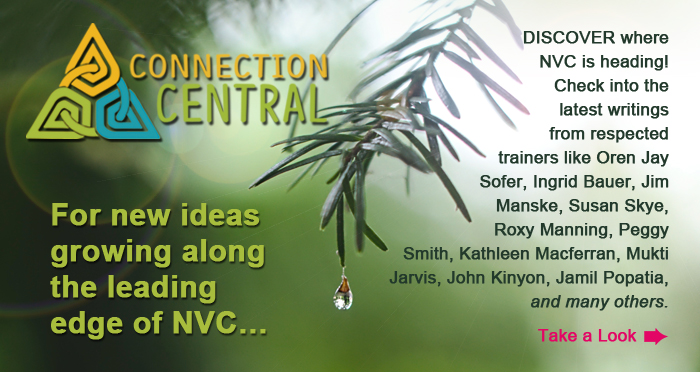 Connection Central. For new ideas growing along the leading edge of NVC. Discover where NVC is heading! Check into the latest writings from respected trainers like Oren Jay Sofer, Ingrid Bauer, Jim Manske, Susan Skye, Roxy Manning, Peggy Smith, Kathleen Macferran, Mukti Jarvis, John Kinyon, Jamil Popatia, and others. Take a Look.