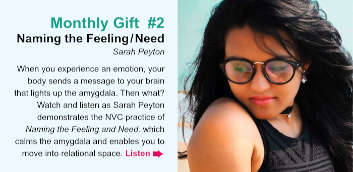 Monthly Gift  #2. Naming the Feeling/Need. Sarah Peyton. When you experience an emotion, your body send a message to your brain that lights up the amygdala. Then what? Watch and listen as Sarah Peyton demonstrates of the NVC practice Naming the Feeling and Need, which calms the amygdala and enables you to move into relational space. Listen.