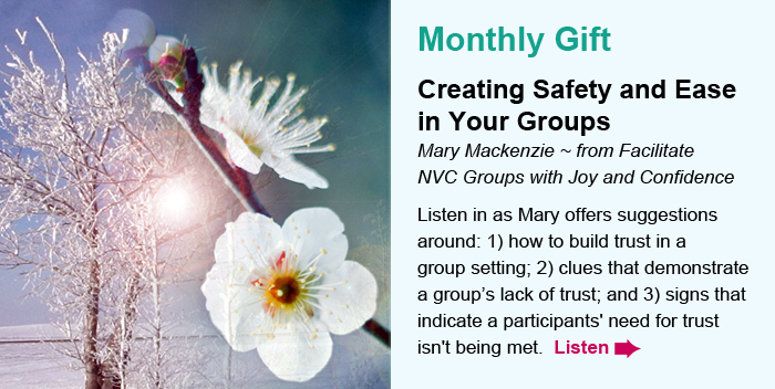 Monthly Gift. Creating Safety and Ease in Your Groups. Mary Mackenzie ~ from Facilitate NVC Groups with Joy and Confidence. Listen in as Mary offers suggestions around: 1) how to build trust in a group setting; 2) clues that demonstrate a group's lack of trust; and 3) signs that indicate a participants' need for trust isn't being met.  Listen.